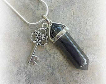 Hematite Crystal, Key Necklace, Hematite Necklace, Crystal Necklace, Sterling, Healing Crystals, Skeleton Key Jewelry, Witch Jewelry, Wicca