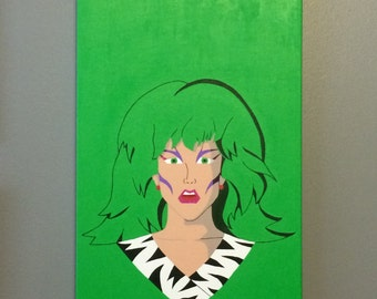 "12""x24"" ORIGINAL ""Pizzazz of the Misfits"" - Jem and the Holograms Pop Art - acrylic painting on canvas - 1980's Cartoon Doll Music Villain"