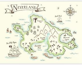 Neverland Map   16x20 DIGITAL DOWNLOAD