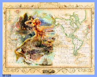 Old map fabric etsy studio antique map mermaid fabric block old world illustration vintage postcard mermaiden print digital collage gumiabroncs Image collections