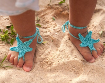 Aqua Starfish Crochet Baby Barefoot Sandals, Baby Foot accessories, Photo prop, Beach Pool Anklet, Lace Sandals, Turquoise barefoot sandals