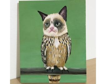 Grumpy Owl - Original Acrylic Painting