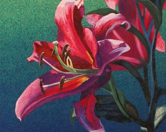 Hybrid Lily Art Quilt Pattern by Lenore Crawford