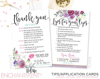 LipSense Application Card -- Purple Floral -- Thank You Card - Tips and Tricks - Tips/Tricks - Instructions - SeneGence - Business Card