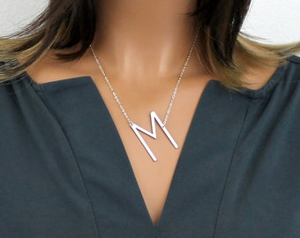 Large Initial Necklace, Over Size Letter, Silver Sideways, Rose Gold Initial, Gold Personalized Initial Big Initial, Bridesmaid Gift