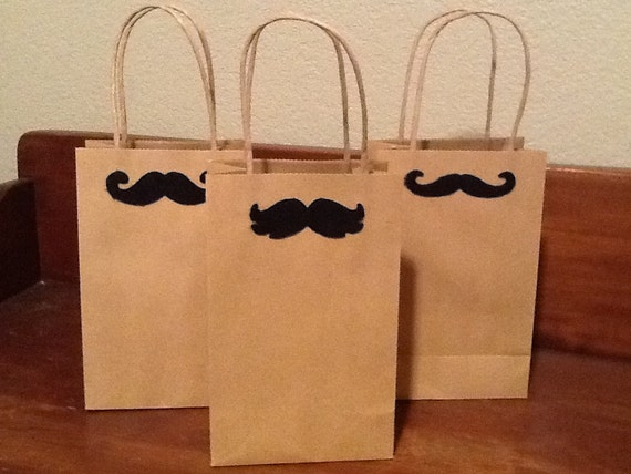 items similar to kraft paper gift bags mustache gift wrap for men mother 39 s day gift wrap. Black Bedroom Furniture Sets. Home Design Ideas