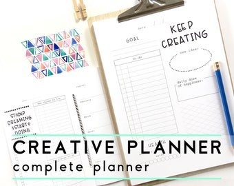 All Year Creative Printable Planner, Instant download, Inspirational Quotes Planner Inserts, Creative Daily Weekly Monthly Project Planner