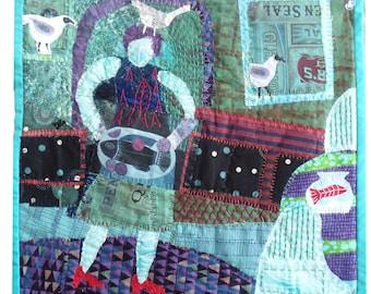 "Fiber Art. Fabric collage.  CARP DIEM  with TERNS   14.5x15.5"""