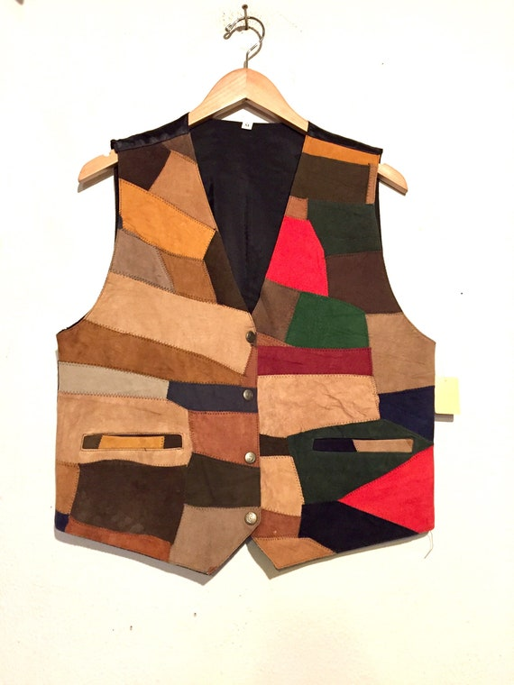 80s Microsuede Patchwork  Dress Vest