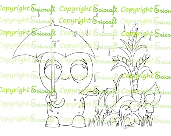 Digital Stamp - It's so Spring it wet my plants - 300dpi jpeg file by Erica Bruton