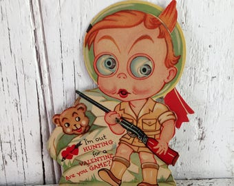 vintage valentine mechanical boy hunter with gun eyes move used valentine to repurpose