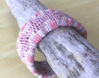 six rib pink plum needle weave tapestry cuff with ball button cuff bracelet handwoven cotton bracelet 4321