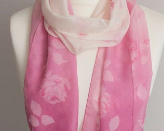 """vintage long scarf, spring rectangle scarf, polyester scarf, fabric women scarf shawl 33x163cm / 13x64"""" sheer scarf floral pink cream"""