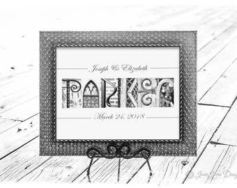 Framed Wedding Sign - Last Name Picture Frame, Personalized Wedding Gift, Black and White Letter Art