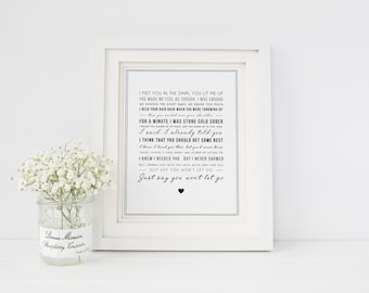 James Arthur 'Say You Won't Let Go' Song Lyrics Print, Music Gift, gift idea - Gift for her, gift for him - gift for boyfriend or girlfriend