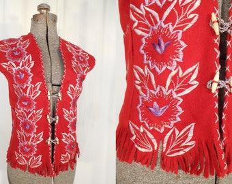 Vintage Vest - 1940s Mexican Red Wool Souvenir Embroidered Vest Large XL