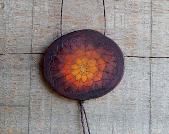 Ethereal Chthon Mandala Rustic Natural Wooden Magnolia Pendant Necklace by Tanja Sova
