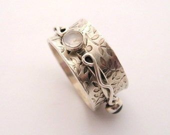 MADE TO ORDER - Sterling Silver Spinner Ring with Gemstones - Little Twiddle I