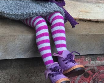 Purple and grey striped doll tights, 12 inch doll stockings, Blythe leggings, pure neemo tights, blythe doll tights, unique doll accessory