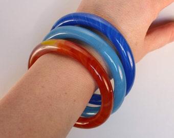 Vintage Peking Glass Bracelet Bangle, Orange
