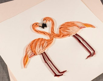 3D Handmade Love Card Blank Quilled Flamingo Valentines Quilling Card