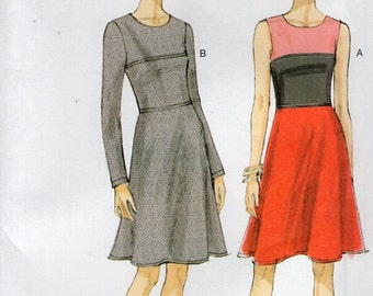 Vogue 8944 Free Us Ship Contrast Dress Sewing Pattern Size 6/14 14/22 Bust 30 31 32 34 36 38 40 42 44 Uncut Out of Print 2013