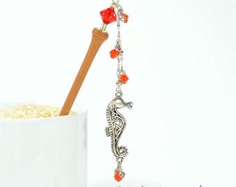 """Seahorse Hair Stick Beach Hair Pin Seahorse Hairstick Red Hair Stick Charm Hair Pick Red Hair Beads - """"Promise"""""""