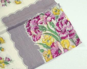 Vintage Hankie, Old Handkerchief, Floral, Carnations, Purple and Yellow Flowers, Mid Century  (23-14)