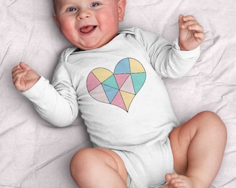 Tangram Heart Infant Bodysuit (baby shower gift, baby, girl, tangram, puzzle, pastel, shape, gifts for baby, heart, love, newborn, kids)