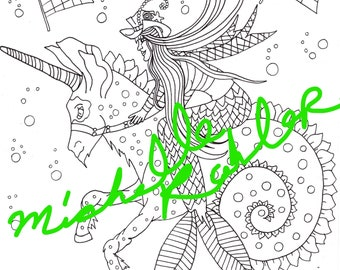 5 pages de coloriage pdf (lot mermay)