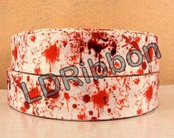 """1"""" Blood Splatter Grosgrain Ribbon"""