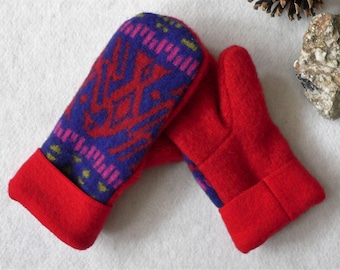 Toasty Mittens sewn with Upcycled Wool and Polar Fleece Linings- Size Medium