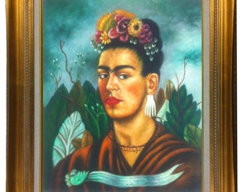 20 X 24 'Self Portrait', 1940 By Frida Kahlo Oil Painting Reproduction, Stretched Only Gold or Copper Frame