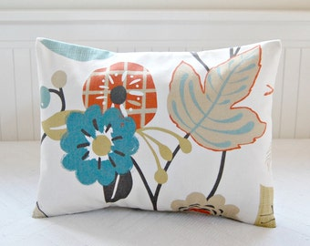 blue gray burnt orange beige floral lumbar cushion cover,12 x 18 inch flowers leaves decorative pillow cover