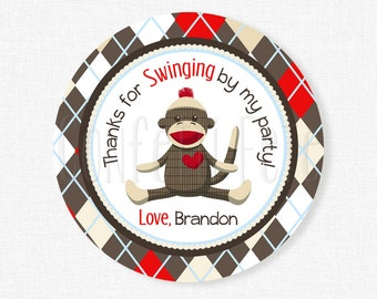 Sock Monkey Favor Tags, Boy Birthday Tag, Red and Brown Sock Monkey Tag, Monkey Party Tag, Sock Monkey Party Favors, Personalized