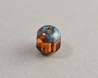 Brown Aqua Bead, Czech Glass, 7mm Picasso Bead, One