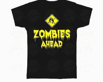 "Zombie T-Shirt Halloween ""Zombies ahead"""