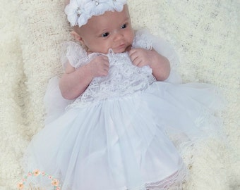 Baptism Dress-Christening dress- Newborn white dress- Newborn Girl Dress- White lace dress, baby girl dress, Baby dress, Flower girl dress