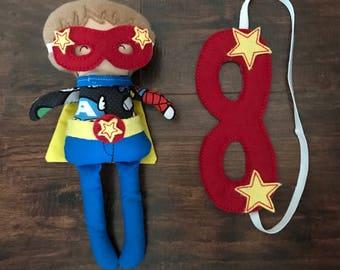 Superhero Doll, Superhero Stuffed Animal, Superhero Toy, Boy Doll with Removable Superhero Clothes