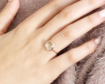 Green Amethyst Ring, 14K Gold Ring for Women, Green Gemstone Gold Ring, February Birthstone, 14K Solid Gold Ring, Stacking Gold Ring, GR0229