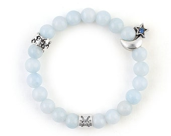 Pisces zodiac bracelet Pisces bracelet Horoscope bracelet March birthstone bracelet Aquamarine bracelet Pisces zodiac jewelry gift for wife