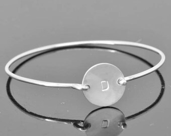 Initial Bangle, Initial Jewelry, Initial Bracelet, Sterling Silver Bangle, Sterling Silver Bracelet