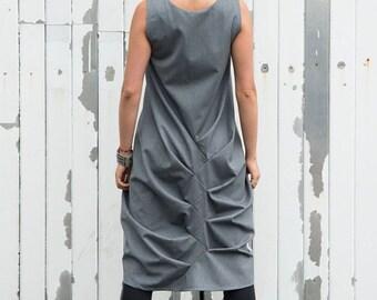 SALE Grey Maxi Dress / Asymmetric Long Tunic / Grey Maxi Tunic/ Loose Tunic Top / Oversize Summer Top by METAMORPHOZA