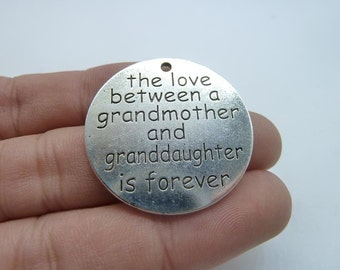 5pcs Antique Silver The Love Between a Grandmother and Granddaughter is Forever Stamped Charm, 32mm C8319