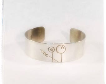 Sterling Stick flower cuff - silver cuff - wide cuff - flower bracelet - anniversary gift - stamped cuff - wide cuff - silver bracelet