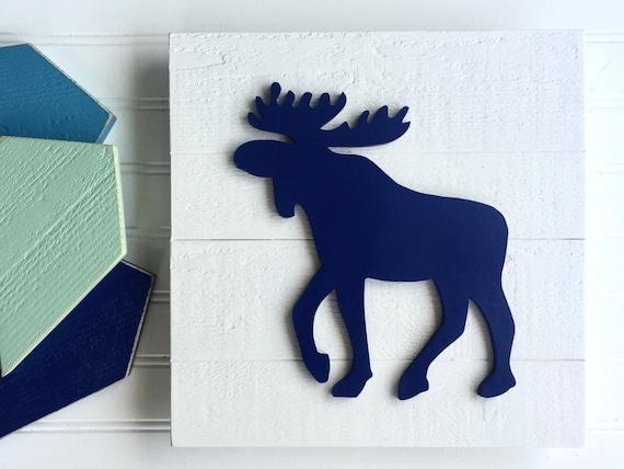 Moose Sign . Moose Nursery . Woodland Nursery . Moose . Forest Nursery . Nursery Decor . Moose Wall Art . Wooden Moose . Happy Camper