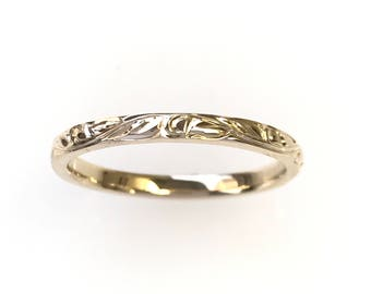 Hand Engraved Vine and Leaf Wedding Anniversary Band