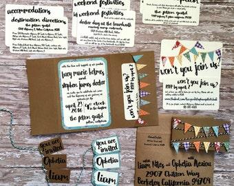 Unique wedding invitation, handmade pocketfold invitation, printed quirky bunting wedding invite with pocket, colorful wedding, DIY wedding