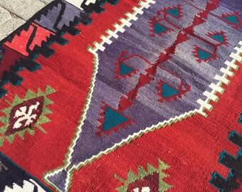 "Vintage Turkish kilim rug, 55.5""  x 32.5"" , small purple area rug, kilim rug, kelim rug, boho chic rugs, bathroom rug, door mat, rug, 721"