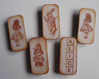Alice In Wonderland Fridge Magnets Magnetic Pegs Decorative Clips Neodymium Magnet In Handmade Gift Box Distressed Cream Ivory Home Decor